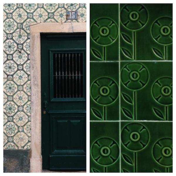 grüne azulejos in lissabon