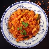 Tierfreitag Linsencurry mit Blumenkohl und Pastinaken vegan