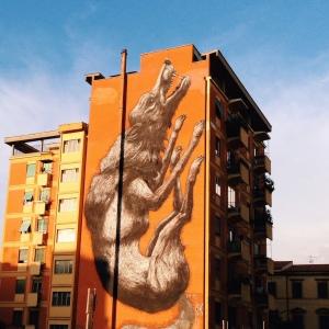 Jumping Wolf von Roa Street Art Rom